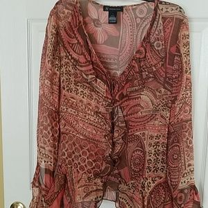 Pretty brown and pink print blouse